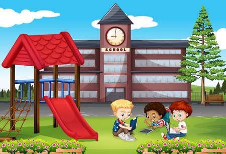 school playground: Children using computer in the park illustration