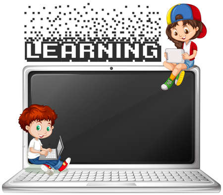typing: Boy and girl using computer illustration