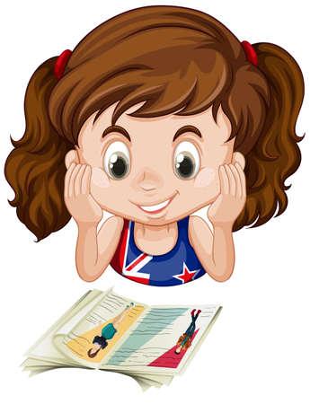 british girl: British girl reading a book illustration
