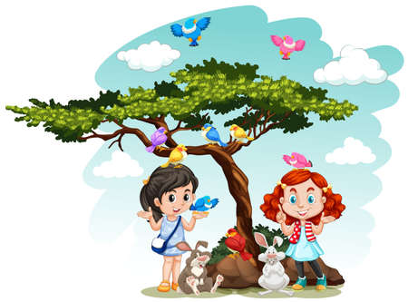 kids background: Girls standing under the tree illustration