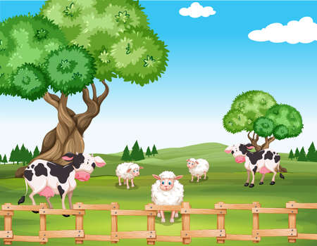 rural scene: Sheeps and cows in the field illustration