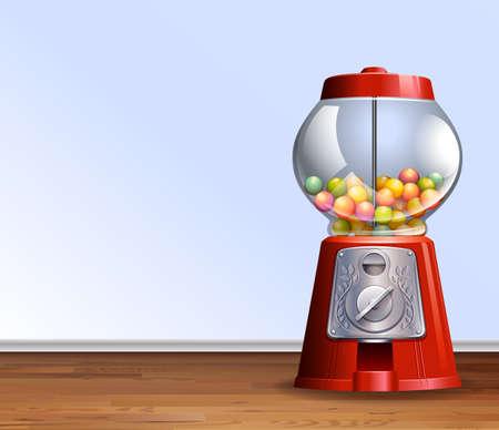 gumball: Retro gumball machine on floor illustration