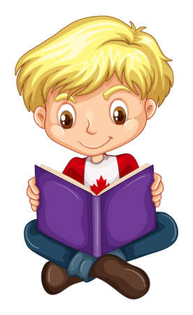 boy book: Canadian boy reading a book illustration Illustration