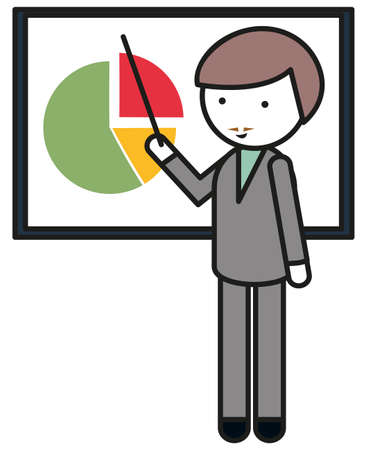 man pointing: Man pointing at pie chart illustration