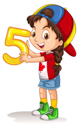 numbers clipart: Little girl holding number five illustration Illustration