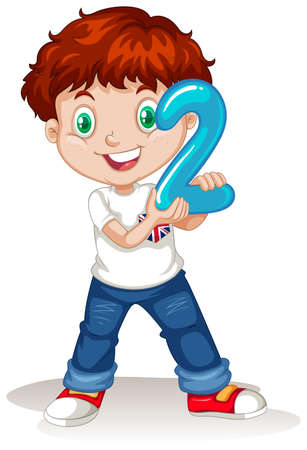 numbers clipart: Cute boy holding number two illustration