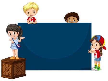 children art: Children around the blue board illustration