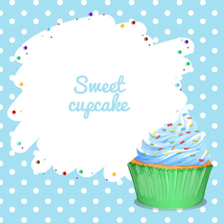 Blue frame with cupcak background illustration