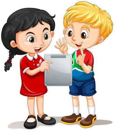 nationalities: Boy and girl looking at the screen illustration