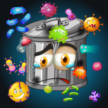 bacteria: Bacteria around the trashcan illustration