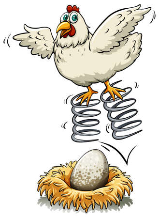 bouncing: Chicken bouncing on spring over an egg illustration