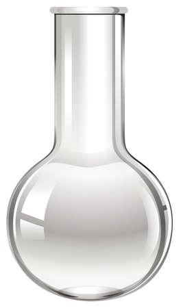 Empty glass beaker on white illustration
