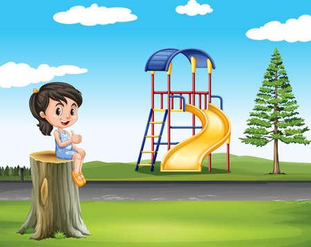 child sitting: Little girl sitting on log at the park illustration