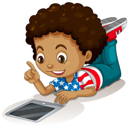using tablet: American boy using computer tablet illustration Illustration