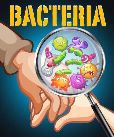 bacteria: Bacteria on human hands illustration Illustration