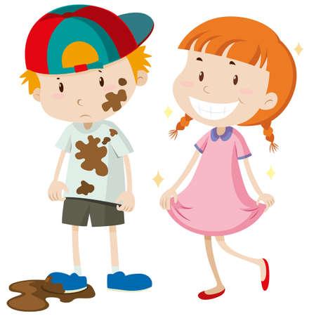 Vuile jongen en schoon meisje illustratie