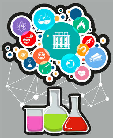 science symbols: Infographic with science and technology symbols illustration