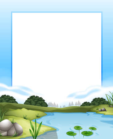 river bank: Border with river scene background illustration