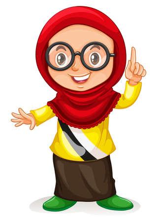 brunei: Little girl from Brunei pointing finger illustration