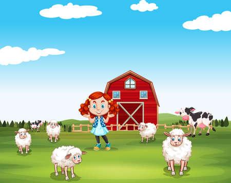 niños: Niña y ovejas en la granja ilustración Vectores