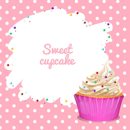 cupcake background: Border with cupcake background illustration