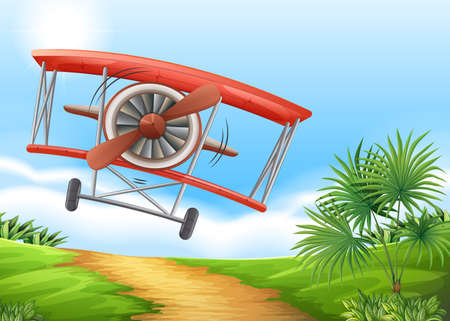 dirtroad: Airplane landing on dirt road illustration