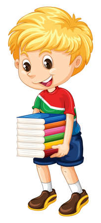 nationalities: Little boy carrying stack of books illustration
