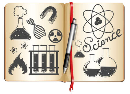 science symbols: Science and technology symbols on book illustration