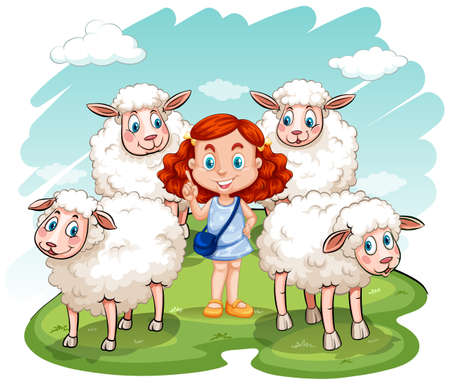 red hair girl: Red hair girl and sheeps on the field illustration Illustration