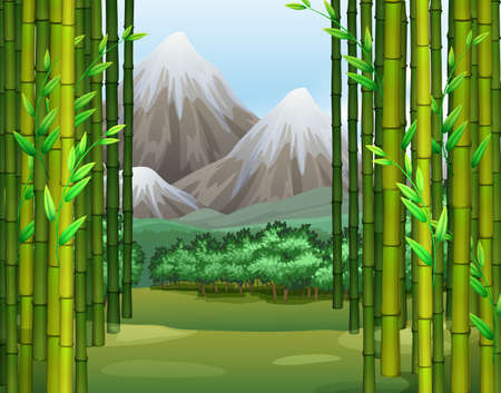 snow field: Bamboo jungle with mountains background illustration