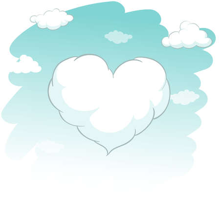 cloud shape: Heart shape cloud in the sky illustration