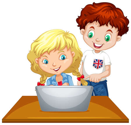 blonde teenager: Boy and girl using computer illustration