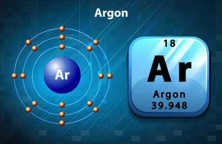 argon: Symbol and electron diagram for Argon illustration Illustration