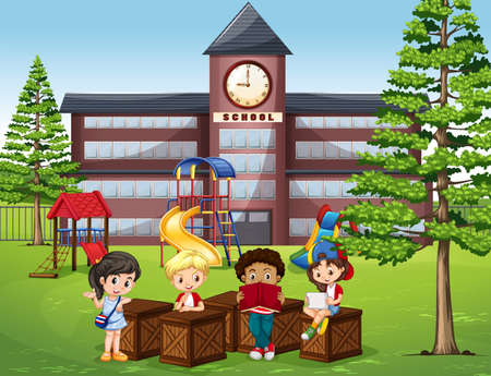 school playground: Children reading and sitting in front of school illustration Illustration