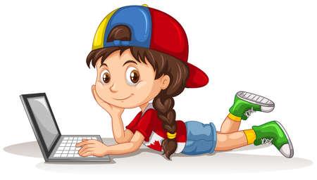 dessin enfants: fille canadienne utilisant un ordinateur portable illustration