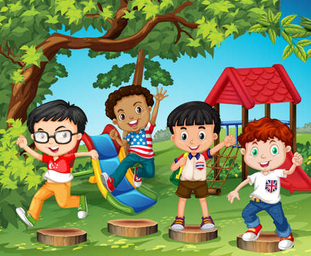 international students: Children playing in the playground illustration