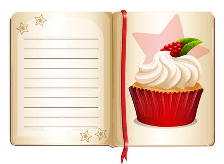 rasberry: Notebook with cupcake on page illustration