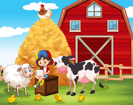 using tablet: Little girl using tablet at the farm illustration