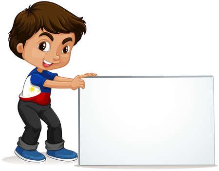 niño escuela: Filipinas muchacho que sostiene signo ilustración en blanco
