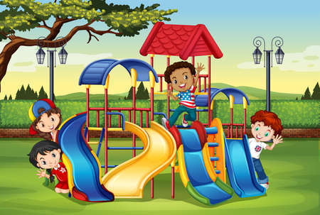 enfant qui joue: Des enfants jouent dans la cour de récréation illustration