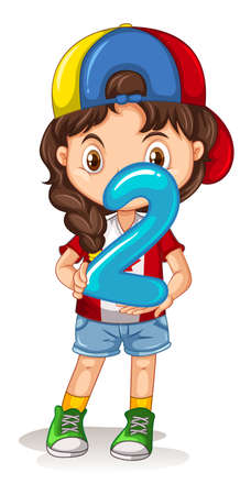 two child: Little girl holding number two illustration
