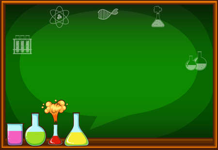 flasks: Blackboard with flasks and chemical illustration