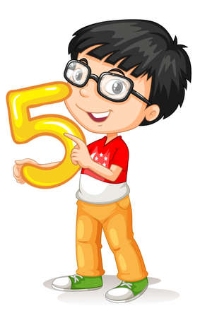 smile close up: Asian boy holding number five illustration