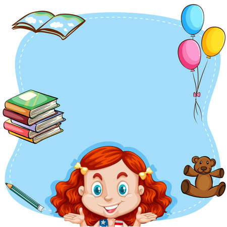 red hair: Red hair girl and book on border illustration