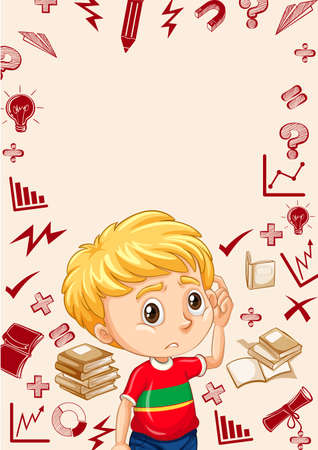 child studying: Border with boy and school objects background illustration