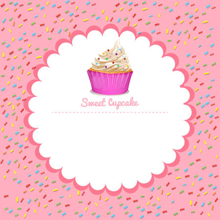 cupcake illustration: Border design with cupcake illustration