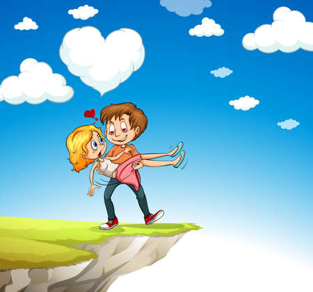 man carrying: Man carrying woman on the cliff illustration