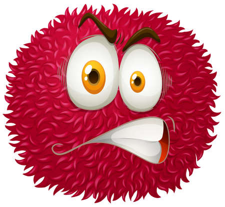 mad: Angry face on fluffy ball illustration