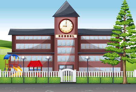 school: School building and playground illustration