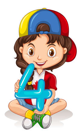 numbers clipart: Cute girl holding number four illustration